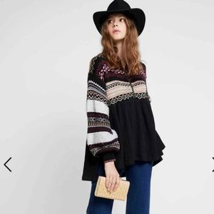 Free People Cabin fever embroidery thermal top